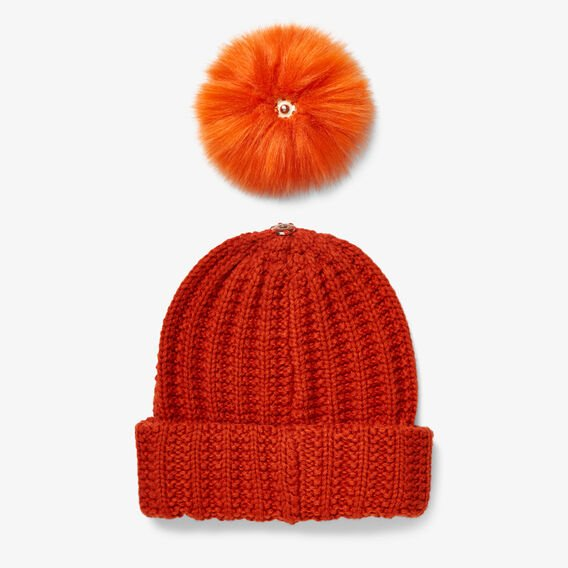 MIX AND MATCH POM BEANIE  RUST  hi-res