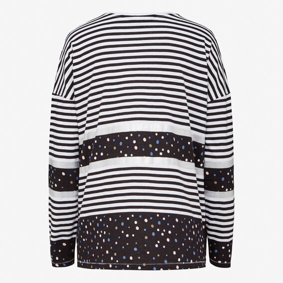 SPOT METALLIC STRIPE L/S TEE  WHITE MULTI  hi-res