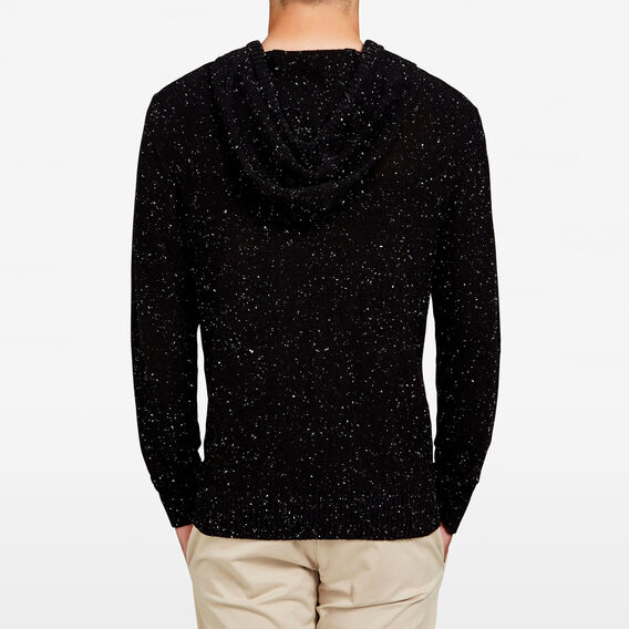 MARL PULL OVER KNIT HOODIE  BLACK SPECKLE  hi-res