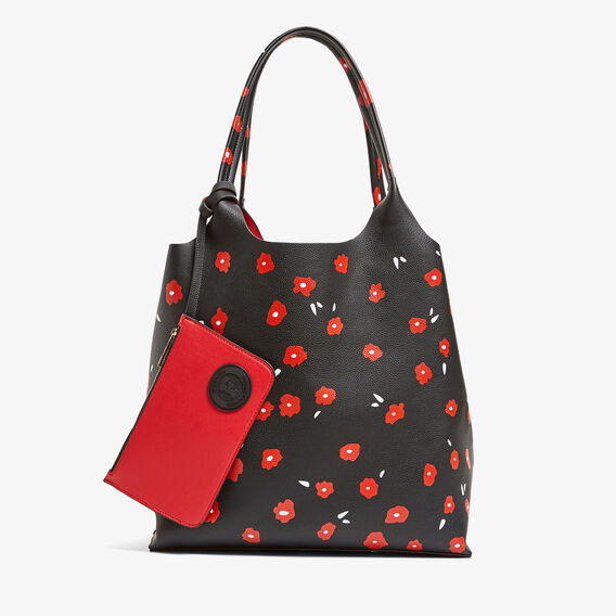 REVERSIBLE PRINTED POPPY TOTE  BLACK/RED  hi-res