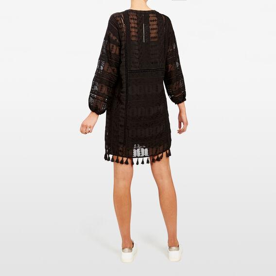 TEXTURED BABYDOLL DRESS  BLACK  hi-res