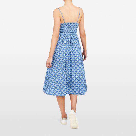 PEACOCK PRINTED DRESS  BLUE/MULTI  hi-res