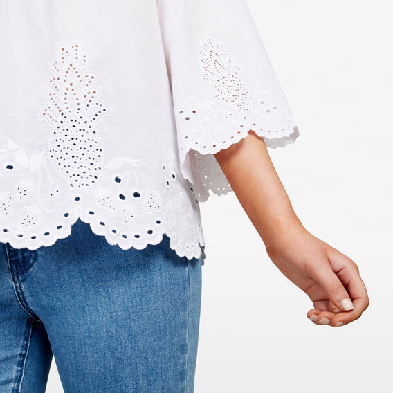EMBROIDERED FRUIT BLOUSE  SUMMER WHITE  hi-res