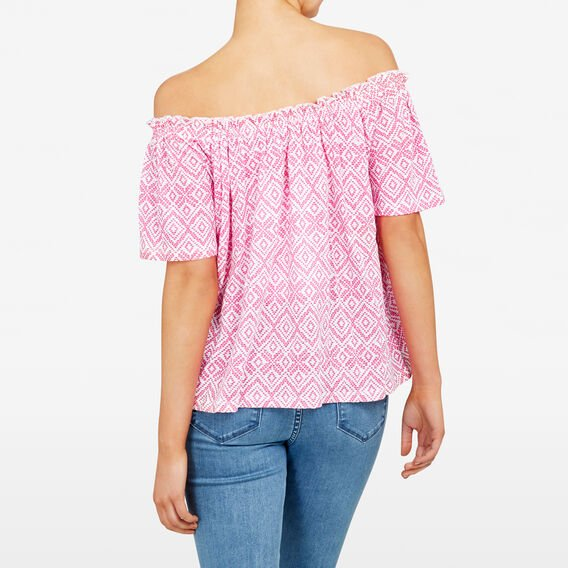 OFF SHOULDER AZTEC PRINTED TEE  SUMMER WHITE/FUCHSIA  hi-res