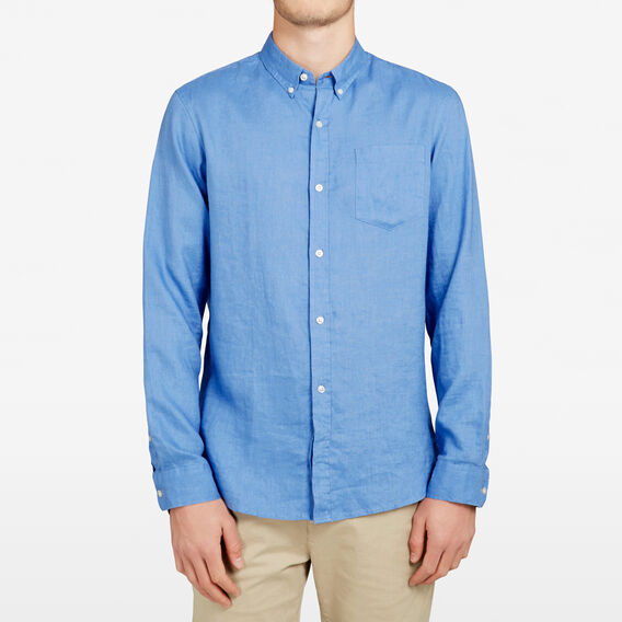 LINEN REGULAR FIT SHIRT  SKY BLUE  hi-res