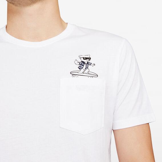 RUDE BEAR SURFING POCKET T-SHIRT  WHITE  hi-res