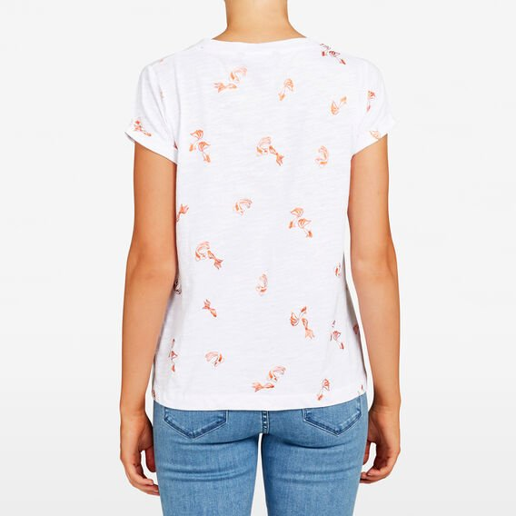 FOIL GOLD FISH PRINTED TEE  SUMMER WHITE MULTI  hi-res