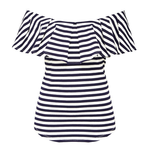 OFF SHOULDER FRILL TEE  WHITE/NAVY  hi-res