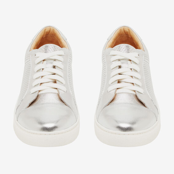 PERFORATED LEATHER SNEAKER  SILVER  hi-res