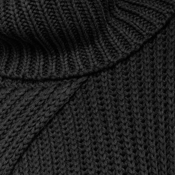 RIBBED ROLL NECK SCARF PONCHO  BLACK  hi-res