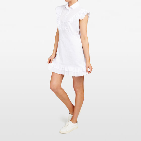 RUFFLE SHIRT DRESS  SUMMER WHITE  hi-res