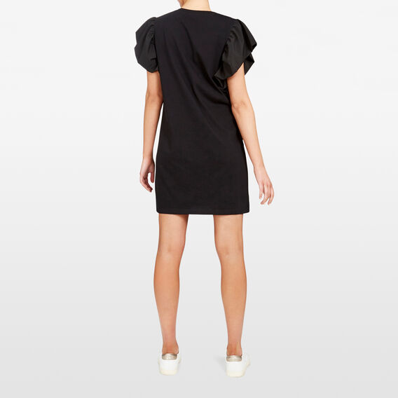 FLUTTER SLEEVE JERSEY DRESS  BLACK  hi-res