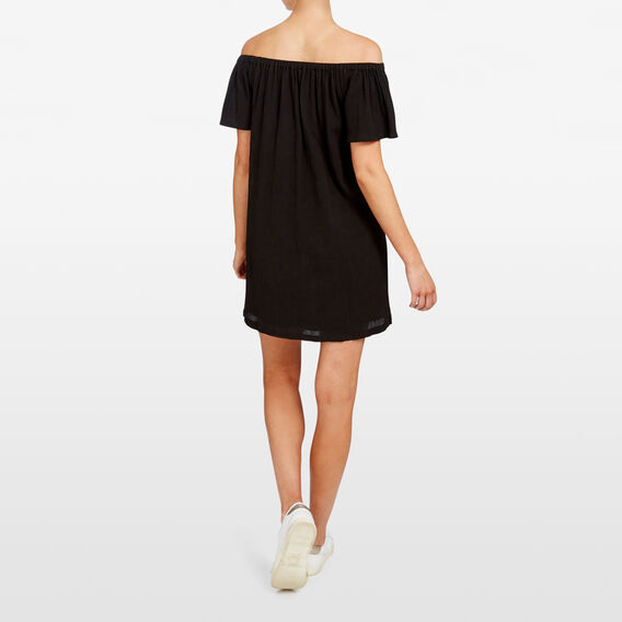 OFF SHOULDER EMBROIDERED PALM DRESS  BLACK  hi-res