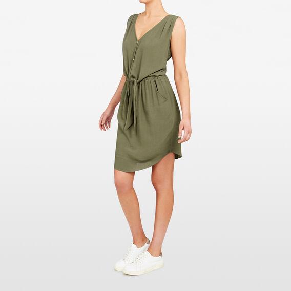 KNOT FRONT DRESS  KHAKI  hi-res