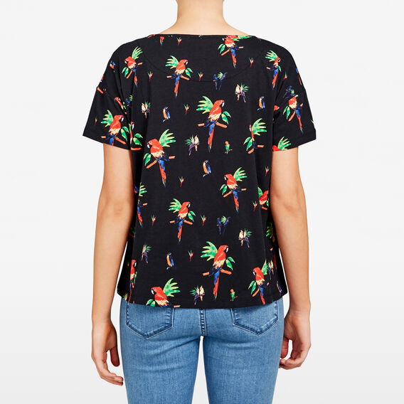 TROPICAL BIRD PRINTED TEE  BLACK/MULTI  hi-res