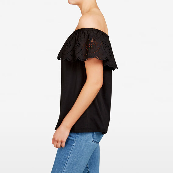 SCALLOP LACE OFF SHOULDER TEE  BLACK  hi-res