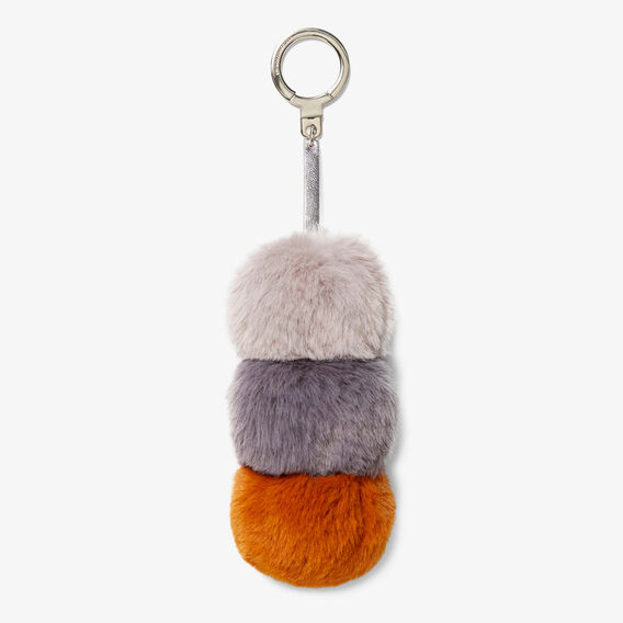 TRIPLE POM POM KEYRING  GREY MULTI  hi-res