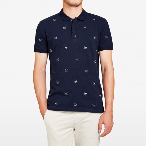 EMBROIDERED MONKEY POLO  MARINE BLUE  hi-res
