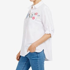 EMBROIDERED FLORAL SHIRT  WHITE/MULTI  hi-res