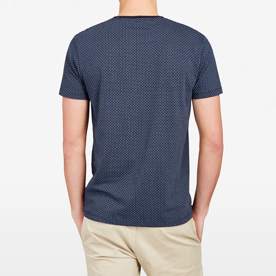 EVERGLADES KNITTED SPOT CREW NECK T-SHIRT  MARINE BLUE  hi-res