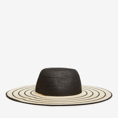 STRIPE SUN HAT  BLACK/NATURAL  hi-res