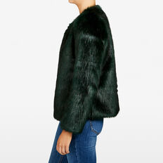 FAUX FUR JACKET  FOREST GREEN  hi-res