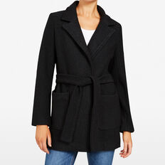 BOILED WOOL COAT  BLACK  hi-res