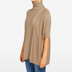 ROLL NECK RIB PONCHO  CAMEL  hi-res