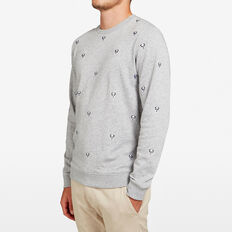 EMBROIDERED PANDA SWEAT  GREY MARLE  hi-res