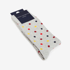LARGE SPOT 1PK SOCKS  GREY MARLE  hi-res