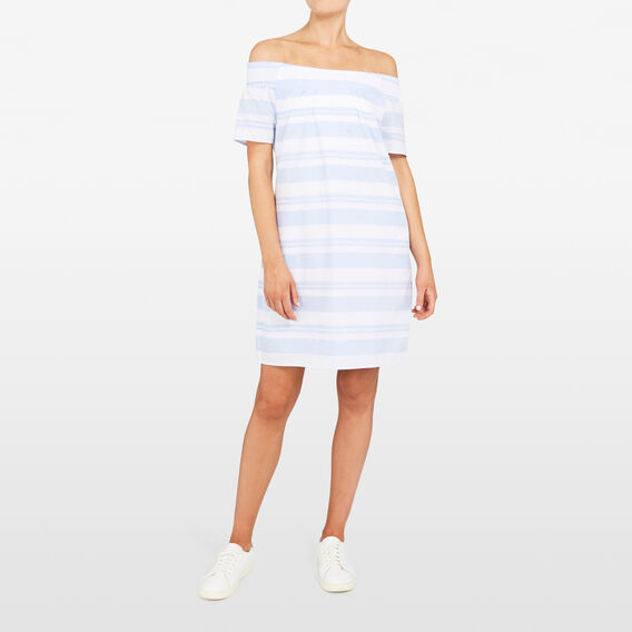 STRIPE OFF SHOULDER DRESS  SUMMER WHITE/LIGHT B  hi-res