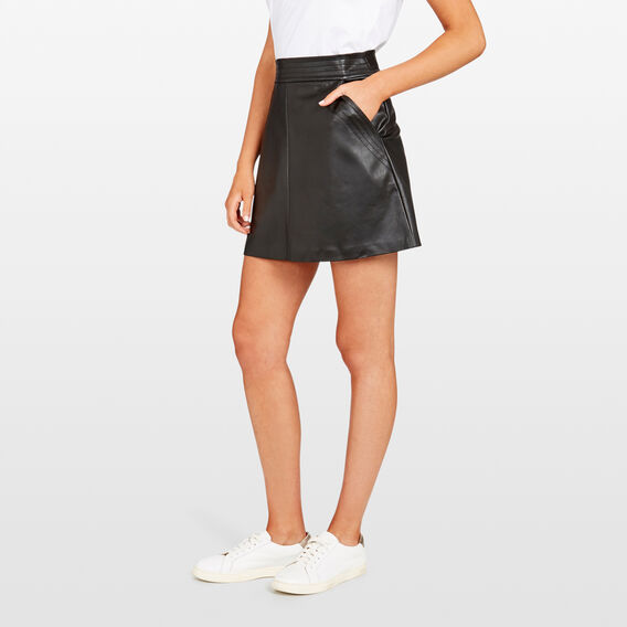 WINTER PU SKIRT  BLACK  hi-res
