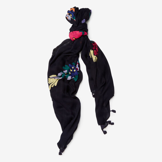 BOTANICAL BIRD SCARF  NAVY/MULTI  hi-res