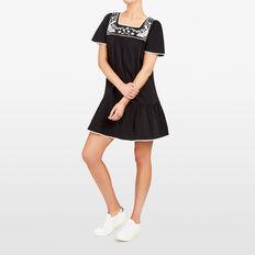 EMBROIDERED JERSEY DRESS  BLACK/MULTI  hi-res