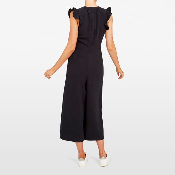 RUFFLE SLEEVE JUMPSUIT  BLACK  hi-res