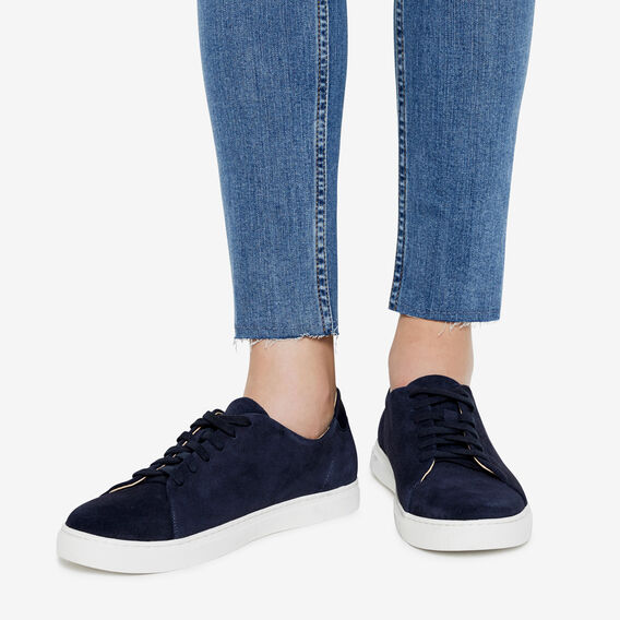 CLEAN LINES LEATHER SNEAKER  NAVY  hi-res