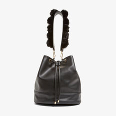 FAUX FUR STRAP BACK PACK  BLACK  hi-res
