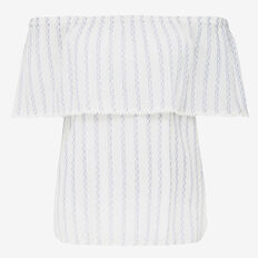 TEXTURED STRIPE COLD SHOULDER  SUMMER WHITE/SKY BLU  hi-res