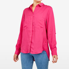 AUTUMN BUTTON THROUGH SHIRT  FUCHSIA  hi-res