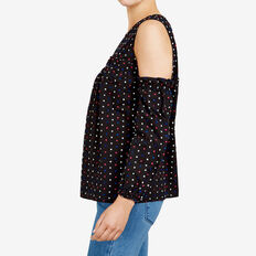 DOBBY COLD SHOULDER SHIRT  BLACK/MULTI  hi-res