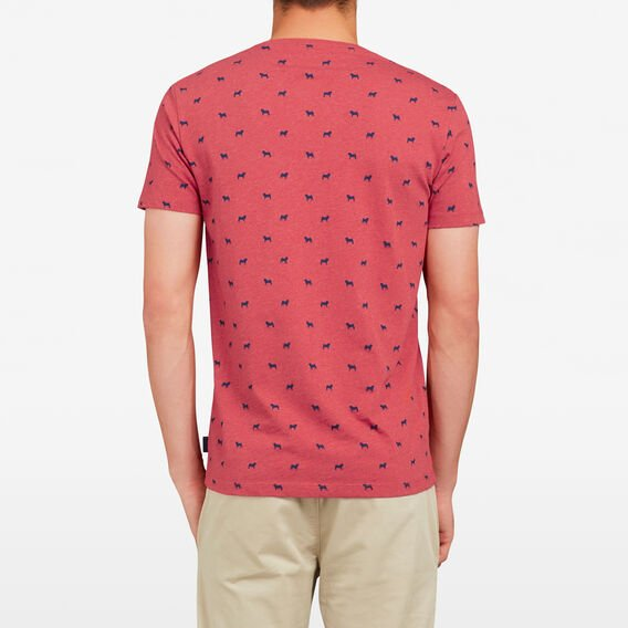 ALL OVER DOG CREW NECK T-SHIRT  RED MARLE  hi-res