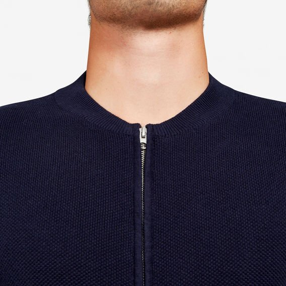 LIGHTWEIGHT KNITTED BOMBER  OXFORD BLUE  hi-res