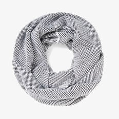 CHUNKY STAB STITCH SNOOD  WHITE/BLACK  hi-res