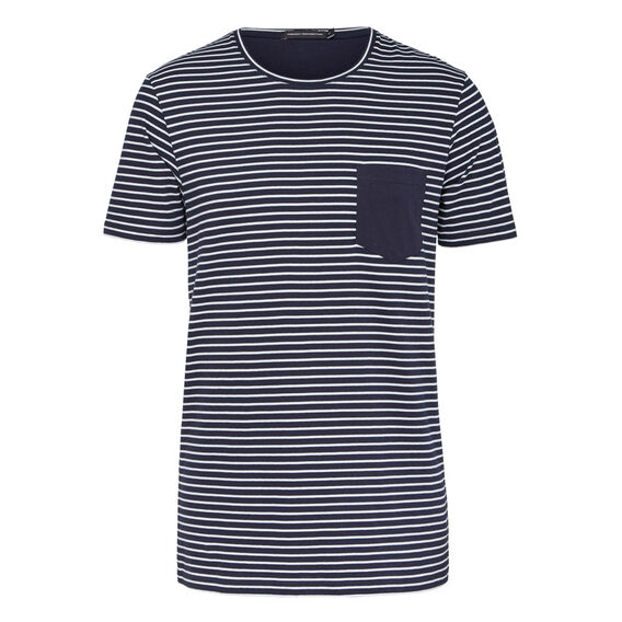 OXFORD STRIPE CREW NECK T-SHIRT  OXFORD BLUE/WHITE  hi-res