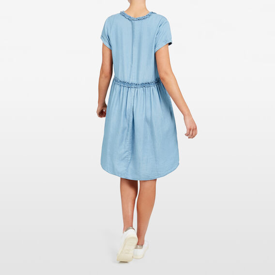 RUFFLE YOKE CHAMBRAY DRESS  CHAMBRAY  hi-res