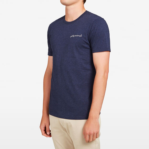 EMBROIDERED CHEST T-SHIRT  NAVY MARLE  hi-res