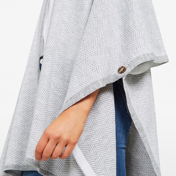 CHEVRON PONCHO  SUMMER WHITE/GREY  hi-res