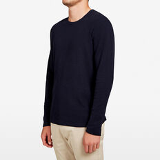 WAFFLE LONG SLEEVE T-SHIRT  MARINE BLUE  hi-res