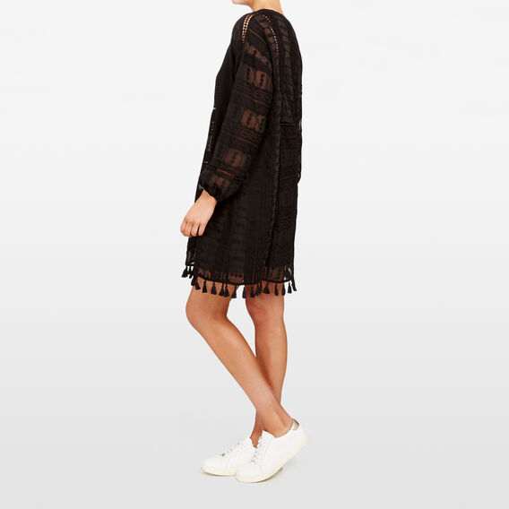 TEXTURED BABYDOLL DRESS  BLACK  hi-res