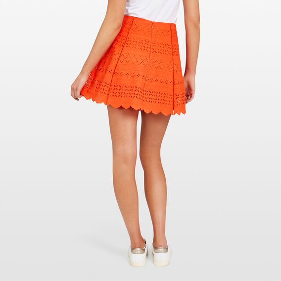 LACE SCALLOP SKIRT  RED  hi-res